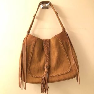 Sole society faux suede hobo bag
